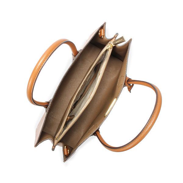 MICHAEL KORS Mercer 荔枝紋皮革金屬鎖頭配飾手提斜背二用托特包(咖啡色)611219-4