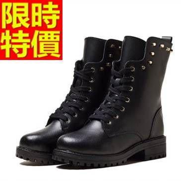 馬丁靴-冬季真皮鉚釘加絨保暖中筒女靴子4色65d57[巴黎精品]