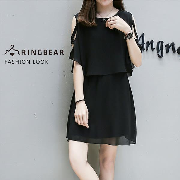 氣質洋裝--優雅假兩件雪紡披肩性感綁帶挖空式收腰無袖連身裙(黑XL-3L)-D421眼圈熊中大尺碼