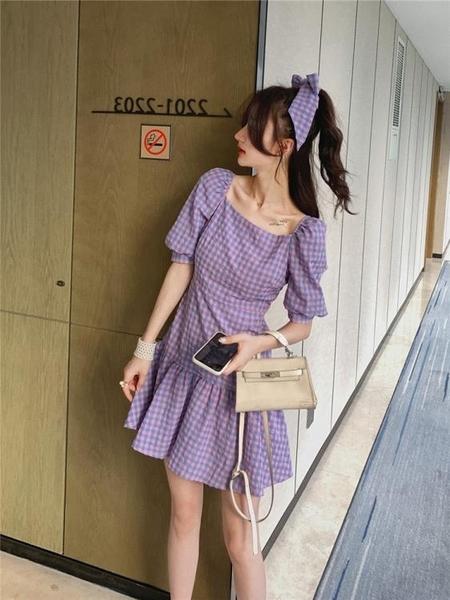 一字肩洋裝 格子裙子女夏季2020年新款韓版少女風超仙修身顯瘦可鹽可甜洋裝 果果生活館