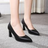 高跟鞋 尖頭粗跟單鞋女春秋新款高跟黑色淺口正裝面試ol職業工作鞋子【快速出貨】