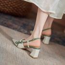 粗跟鞋包頭涼鞋女尖頭粗跟2021夏季新款仙女風淺口珍珠高跟鞋后空單鞋女 迷你屋 618狂歡