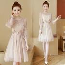 網紗洋裝 春秋裝時尚輕奢網紗長袖連身裙子仙女高端大牌名媛氣質-Ballet朵朵