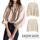 EASON SHOP(GQ0086)韓版純色落肩寬鬆後釦圓領褶皺小高領泡泡袖長袖雪紡OL襯衫女上衣服打底顯瘦內搭