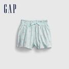 Gap女幼童 布萊納系列 可愛印花鬆緊短褲 742852-淡藍色