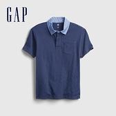 Gap男童 時尚拼接短袖POLO衫 742577-海軍藍