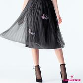 【SHOWCASE】唯美亮蔥飄逸天鵝網紗鬆緊腰百搭中長紗裙(黑)