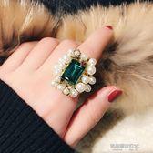 戒指古風歐美復古風珍珠戒指 女個性優雅祖母綠寶石戒面大指環  凱斯盾數位3c
