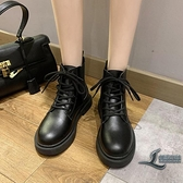 女款短靴馬丁靴時尚百搭加絨英倫風女靴子黑色【邻家小鎮】
