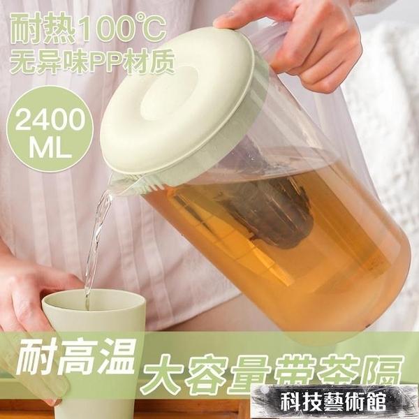 茶壺 塑料冷水壺超大容量耐高溫家用冰水扎壺泡茶壺涼白開水杯套裝日式 科技