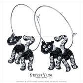 耳環STEVEN YANG正白K飾「晶鑽珍珠黑貓」大圓勾式 鋯石 一對價格
