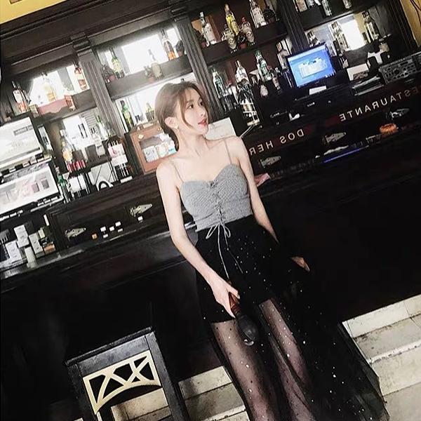 Qmigirl 馬爾地夫三亞沙灘裙韓國超仙吊帶兩件套裝 上衣 長裙 【WT1300】