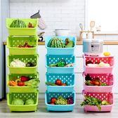 果蔬收納筐廚房蔬菜置物架落地多層菜筐廚房用品儲物架菜架子菜籃   夢曼森居家
