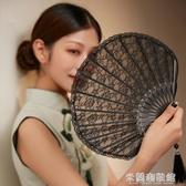 折疊扇子 復古蕾絲折扇女日式隨身折疊漢服扇女式扇子古風便攜流蘇小扇夏季 快速出貨