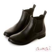 amai SGS認證-彈性拼接美型雨靴 黑
