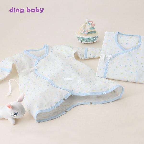 ding baby點點純棉反摺紗布蝴蝶衣2入組-藍 C-925918-B0-FF