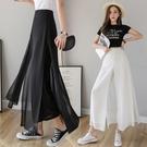 九分褲裙女高腰垂感網紗薄款夏季新款雙層寬...