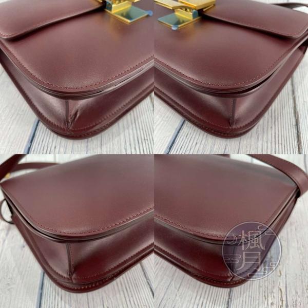 BRAND楓月 CELINE 酒紅色CLASSIC BOX MEDIUM 肩背包 側背包 斜背包 掀蓋 皮質 光滑皮