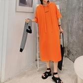 連帽洋裝休閒長裙中大尺碼L-3XL/寬鬆長款飄帶短袖連身裙景F5-9003.胖胖美依