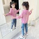 運動套裝女童套裝秋裝新款兒童網紅洋氣春秋女孩牛仔運動兩件套韓版潮 快速出貨