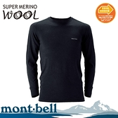【Mont-Bell 日本 男 SPMW M.W.R-N 長袖羊毛中厚內衣《黑》】1107235/羊毛衣/滑雪/冬季出遊