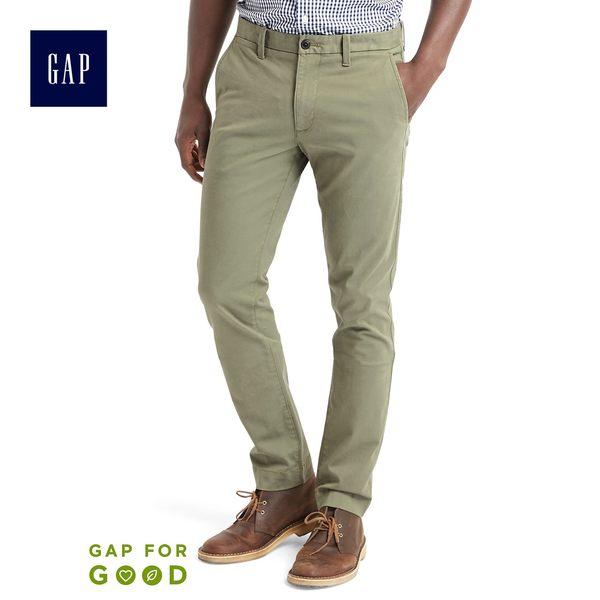 Gap男裝基本款百搭緊身彈力男士卡其褲中腰工裝褲 353298-橄欖綠