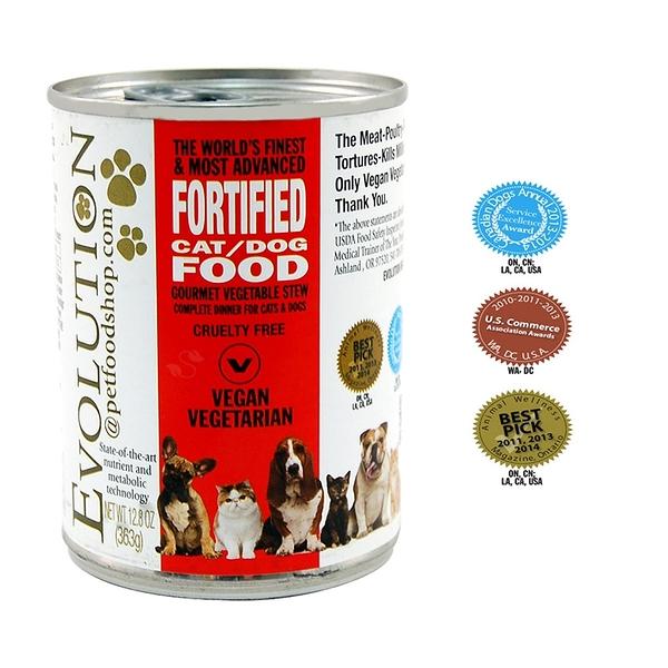 美國Evolution進化貓/ 狗罐頭363g 紅標 愛家嚴選素食寵物飼料 全素營養點心 無麩質 現貨