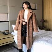 風衣女秋裝年新款寬鬆顯瘦中長款仿羊羔絨長袖小個子大衣外套 盯目家