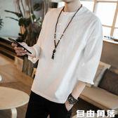 夏中國風亞麻T恤男裝大碼上衣棉麻短袖寬鬆中袖七分袖體恤新款潮 自由角落