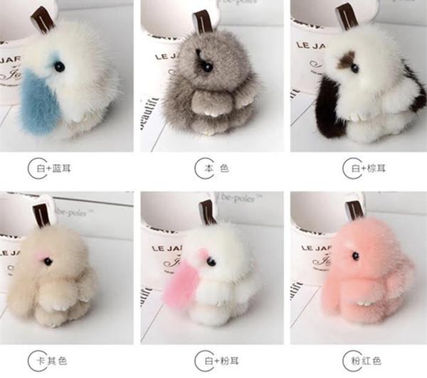 裝死兔掛件小號迷你版,進口水貂毛小兔子毛絨鑰匙扣掛件,裝死兔正版,高8公分