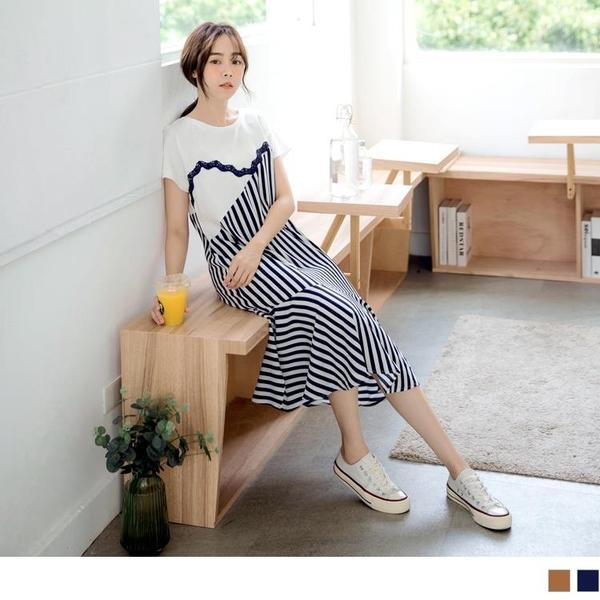 《DA7869-》異材質假兩件蕾絲條紋直筒荷葉裙襬長洋裝 OB嚴選