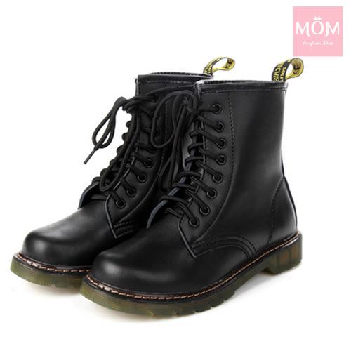 歐美經典款8孔綁帶真皮馬丁靴 短靴 工程靴 黑 *MOM*