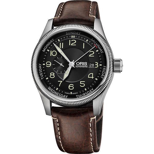 ORIS 豪利時 Big Crown 大錶冠小秒針指針式星期錶-黑x咖啡/44mm 0174576884034-0752277FC