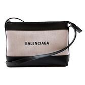 【台中米蘭站】全新品 BALENCIAGA 品牌logo帆布拚皮革斜背包(639497-白)