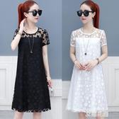 雪紡連身裙2019夏季新款時尚女裝大碼寬鬆氣質中長款蕾絲裙子『艾麗花園』