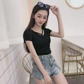 短T 黑色v領t恤女短袖漏鎖骨修身顯瘦小心機上衣小眾性感露背緊身體恤