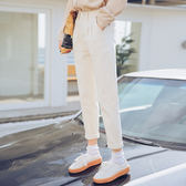 398#實拍2019春季新款牛仔白色哈倫褲女寬松九分修身直筒褲潮版D103A2衣人有約