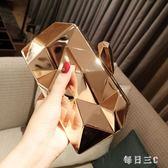 宴會包新款歐美時尚女晚宴金屬手拿包潮斜挎鏈條小方包 zm13337【每日三C】