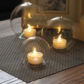現代簡約創意透明圓球電子蠟玻璃燭台婚慶佈置燭光晚餐 露露日記