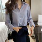 VK精品服飾 韓國風豎條紋襯衫寬鬆OL長袖上衣
