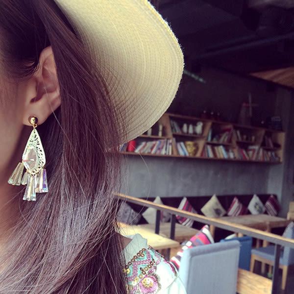 耳環 宮廷波西米亞渡假風水晶流蘇造型垂墜式耳環【1DDE0436】