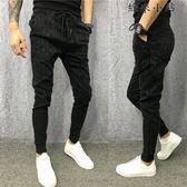 小伙黑色休閒褲小腳褲修身褲子
