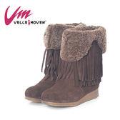VelleMoven 靴子 流蘇短靴 皮毛一體 秋冬保暖必備 個性  時尚  _深咖啡