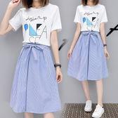 2018夏季新款韓版時尚套裝短袖學生姐妹閨蜜兩件式洋裝 DN7318【野之旅】