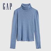Gap女童 簡約風格純色高領針織長袖 618487-淺藍色
