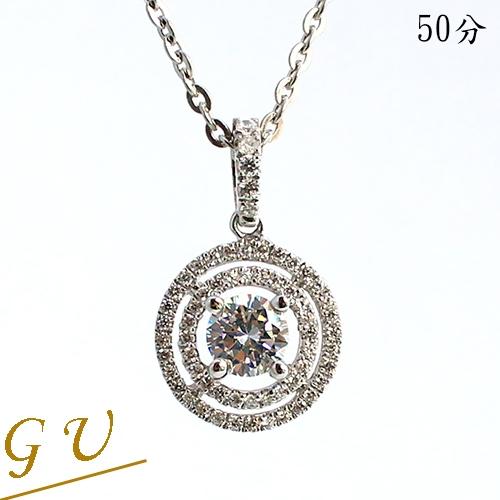 【GU鑽石】A102聖誕節禮物女友生日禮物銀項鍊水晶鋯石項鍊 GresUnic Apromiz 50分同心圓鑽石項鍊