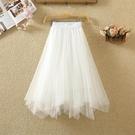 蓬蓬裙 不規則半身裙紗裙女夏季高腰顯瘦a字蓬蓬裙中長款網紗裙-Ballet朵朵