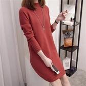 漂亮小媽咪 針織洋裝【D7681】 韓系 修身 親膚 針織衫 純色 長袖 毛衣 洋裝 孕婦裝 毛線裙