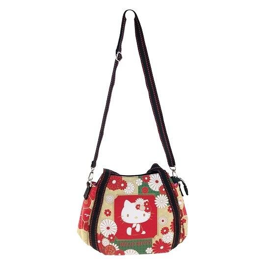 小禮堂 Hello Kitty 帆布托特包手提袋 帆布手提袋 斜背袋 便當袋 (紅金 側坐) 4582135-12910
