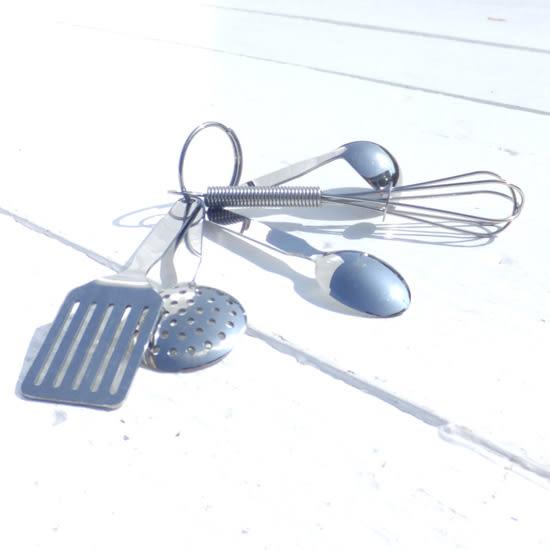日本直送 迷你廚具鑰匙圈 不鏽鋼 mini kitchen tool set 該該貝比日本精品 ☆